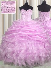 Lilac Sleeveless Brush Train Beading and Ruffles and Pick Ups Floor Length Quinceanera Dress
