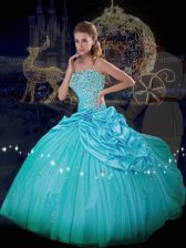 Blue Taffeta and Tulle Lace Up Quince Ball Gowns Sleeveless Floor Length Beading and Pick Ups