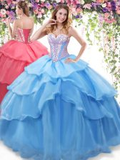 Floor Length Baby Blue Quince Ball Gowns Organza Sleeveless Beading and Ruffled Layers