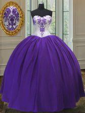 Artistic Sweetheart Sleeveless Sweet 16 Quinceanera Dress Floor Length Beading Eggplant Purple and Purple Taffeta