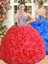 Comfortable Red Lace Up Sweetheart Beading and Ruffles Sweet 16 Dress Organza Sleeveless