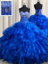 Dramatic Royal Blue Ball Gowns Sweetheart Sleeveless Organza Brush Train Lace Up Beading and Ruffles Quinceanera Gown