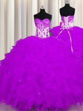 Unique Floor Length Purple Sweet 16 Dress Organza Sleeveless Appliques and Ruffles