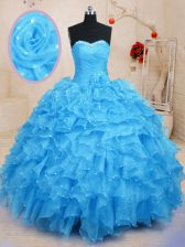 Fitting Baby Blue Organza Lace Up Quinceanera Gowns Sleeveless Floor Length Beading and Ruffles and Hand Made Flower