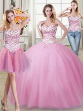 Three Piece Sleeveless Beading Lace Up Vestidos de Quinceanera