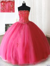 Spectacular Hot Pink Lace Up Strapless Beading and Appliques Quinceanera Dress Tulle Sleeveless