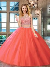 Sumptuous Tulle Scoop Sleeveless Backless Beading Ball Gown Prom Dress in Watermelon Red
