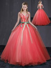 Admirable Appliques and Belt Sweet 16 Quinceanera Dress Coral Red Lace Up Sleeveless Floor Length