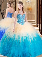Beautiful Sleeveless Embroidery and Ruffles Lace Up 15 Quinceanera Dress