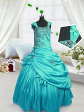 Floor Length Turquoise Little Girls Pageant Gowns Satin Sleeveless Beading and Pick Ups