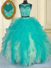 Colorful Scoop Floor Length Turquoise Quince Ball Gowns Tulle Sleeveless Beading and Ruffles
