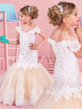 Mermaid White and Champagne Off The Shoulder Neckline Lace Flower Girl Dresses for Less Short Sleeves Lace Up