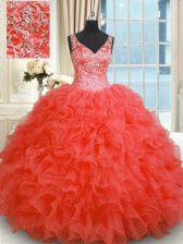 Coral Red V-neck Zipper Beading and Ruffles Vestidos de Quinceanera Sleeveless