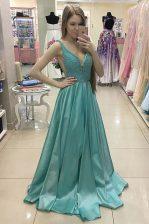 Green Zipper Prom Dress Beading Sleeveless With Train Sweep Train