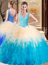 Shining Multi-color Sleeveless Floor Length Appliques and Ruffles Zipper Sweet 16 Dress
