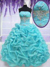 Eye-catching Aqua Blue Strapless Lace Up Beading and Pick Ups Sweet 16 Dresses Sleeveless