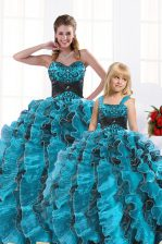 Sweetheart Sleeveless Quinceanera Dress Floor Length Beading and Appliques and Ruffles Aqua Blue Organza