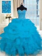 Luxury Sweetheart Sleeveless Lace Up 15th Birthday Dress Baby Blue Organza