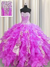 Spectacular Visible Boning Lilac Ball Gowns Beading and Ruffles and Sequins Quinceanera Dress Lace Up Organza and Sequined Sleeveless Floor Length