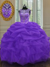 Organza Scoop Sleeveless Lace Up Beading and Pick Ups Sweet 16 Dresses in Eggplant Purple
