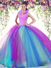 Chic High-neck Sleeveless Backless Sweet 16 Dress Multi-color Tulle