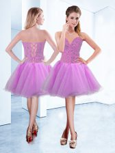 Smart A-line Prom Party Dress Lilac Sweetheart Organza Sleeveless Knee Length Lace Up