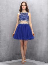 Inexpensive Royal Blue A-line Organza Scoop Sleeveless Beading Mini Length Side Zipper Prom Gown