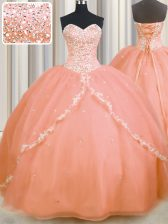 Peach Ball Gowns Sweetheart Sleeveless Organza With Brush Train Lace Up Beading and Appliques Sweet 16 Dress