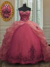 Dazzling Organza Sleeveless With Train Quinceanera Dresses Court Train and Beading and Appliques and Pick Ups