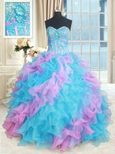 Fantastic Multi-color Sleeveless Floor Length Beading and Appliques and Ruffles Lace Up Sweet 16 Quinceanera Dress