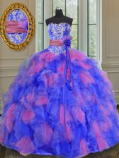 Multi-color Organza Lace Up Sweetheart Sleeveless Floor Length Quinceanera Gowns Beading and Appliques and Ruffles and Sashes ribbons and Hand Made Flower
