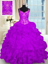 Spaghetti Straps Sleeveless Brush Train Lace Up Quinceanera Gowns Purple Organza
