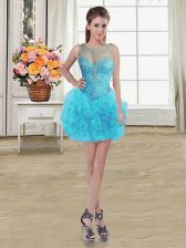 Traditional Baby Blue Ball Gowns Tulle Scoop Sleeveless Beading and Ruffles Mini Length Lace Up