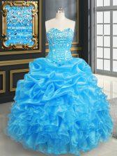 Sleeveless Beading and Ruffles and Pick Ups Lace Up 15th Birthday Dress