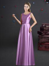Latest Straps Lilac Empire Bowknot Quinceanera Dama Dress Zipper Elastic Woven Satin Sleeveless Floor Length