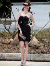 Wonderful Black Sleeveless Knee Length Beading Backless Prom Dress