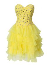 Clearance Sleeveless Zipper Mini Length Beading and Ruffled Layers Homecoming Dress