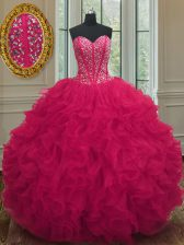 Charming Sweetheart Sleeveless Lace Up Sweet 16 Dresses Coral Red Organza