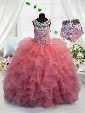 Coral Red Ball Gowns Organza Scoop Sleeveless Beading and Ruffled Layers Floor Length Lace Up Kids Formal Wear