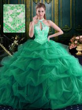 Custom Designed Halter Top Dark Green Lace Up Sweet 16 Quinceanera Dress Beading and Ruffles and Pick Ups Sleeveless Floor Length