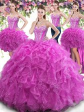 Extravagant Four Piece Fuchsia Ball Gowns Tulle Sweetheart Sleeveless Beading and Ruffles Floor Length Lace Up Quinceanera Dress