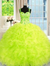 Fabulous Yellow Green Organza Lace Up Sweet 16 Dresses Sleeveless Floor Length Beading and Embroidery and Ruffles
