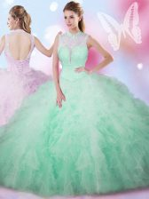 Deluxe Apple Green Sleeveless Floor Length Beading and Ruffles Lace Up Ball Gown Prom Dress