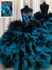 Latest Black and Blue Sleeveless Beading and Ruffles and Hand Made Flower Floor Length Quinceanera Gowns