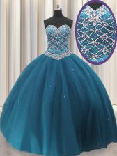 Sweetheart Sleeveless Quinceanera Dress Floor Length Beading and Sequins Teal Tulle