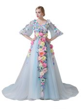 Lovely Light Blue Half Sleeves Court Train Hand Made Flower With Train Prom Party Dress