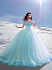 Modern Court Train Ball Gowns Quinceanera Dress Baby Blue Off The Shoulder Tulle Cap Sleeves Lace Up