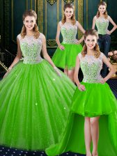 Deluxe Four Piece Brush Train Ball Gowns Ball Gown Prom Dress High-neck Tulle Sleeveless Floor Length Zipper