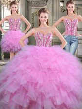 Glorious Three Piece Lilac Lace Up Quinceanera Dress Beading Sleeveless Floor Length