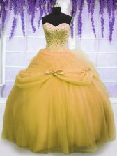 Gold Quinceanera Dresses Military Ball and Sweet 16 and Quinceanera with Beading and Bowknot Sweetheart Sleeveless Lace Up